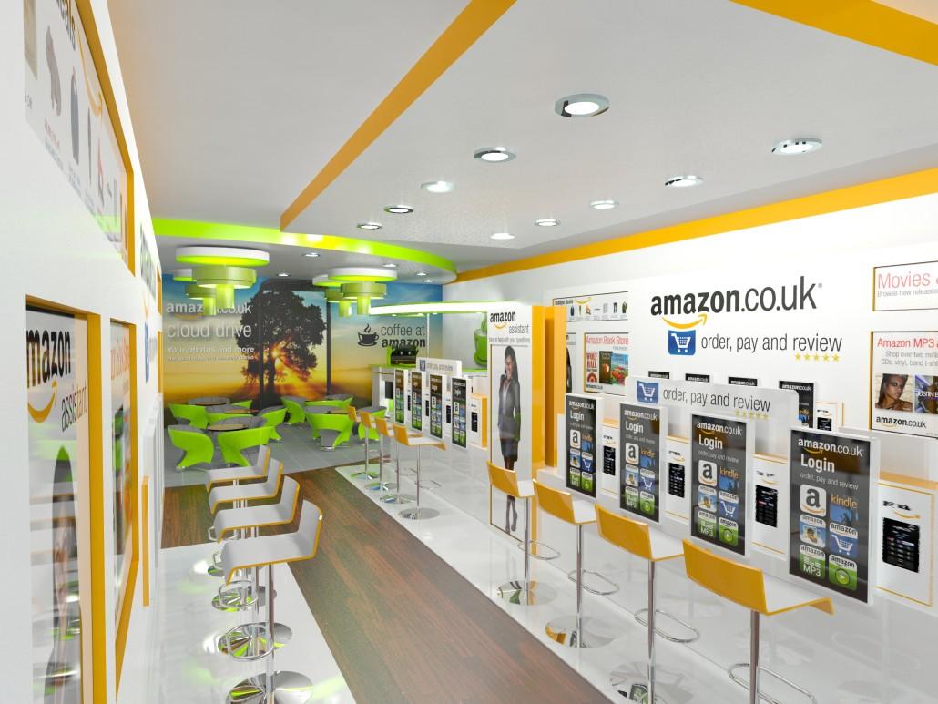 L'interno di un concept store di Amazon in una strada a vocazione commerciale nel centro urbano.